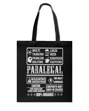 PARALEGAL 100 ORGANIC T-SHIRTS Tote Bag thumbnail