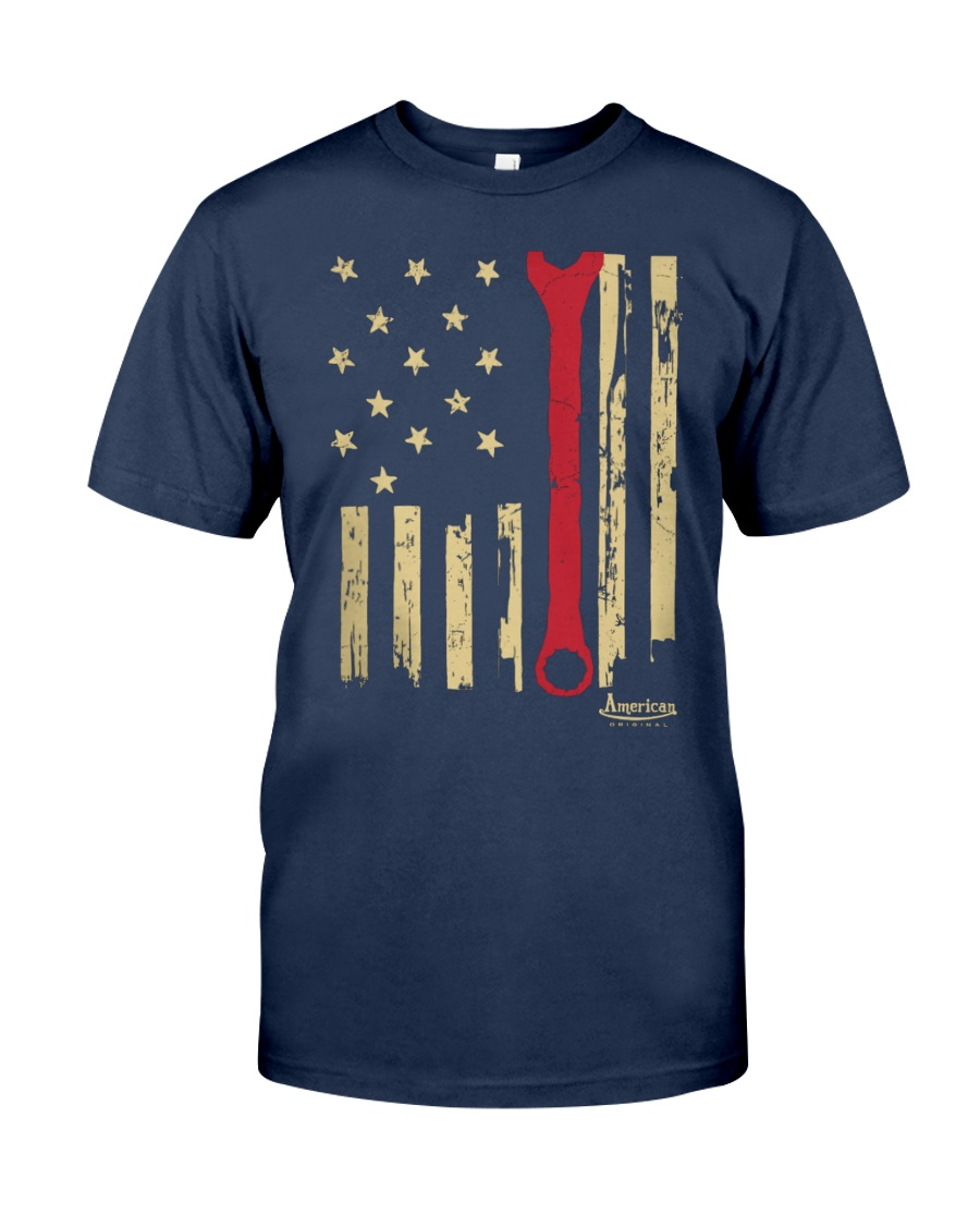 Patriotic American Mechanic Wrench Flag Classic T-Shirt showcase