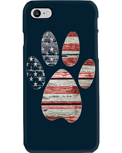 DOG PAW PRINT AMERICAN FLAG