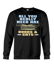 All you really need are BOOKS CATS Crewneck Sweatshirt thumbnail