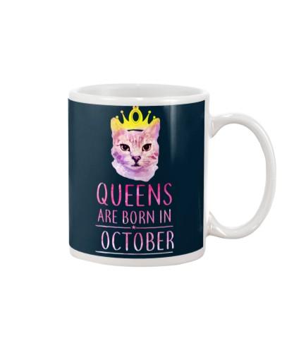 October Queens Cat Are Born In T Shirt Hoodie