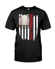 Baseball Dad American Flag T Shirt Classic T-Shirt front