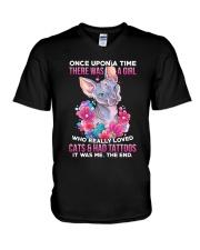 Cat Tattoo V-Neck T-Shirt tile