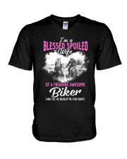 Wife Of A Freaking Awesome Biker V-Neck T-Shirt thumbnail
