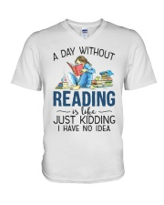 A Day Without Books V-Neck T-Shirt tile