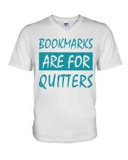 Bookmarks Are For Quitters V-Neck T-Shirt tile