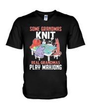 Real Grandmas Play Mahjong V-Neck T-Shirt tile