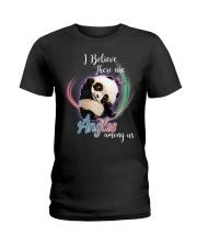 Panda I Believe Angels  Ladies T-Shirt thumbnail