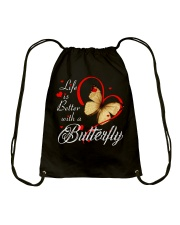 BUTTERFLY LIFE IS BETTER Drawstring Bag thumbnail