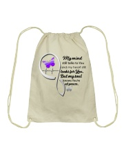 Purple Butter My Mind Still Talks Heartbeat - LTE  Drawstring Bag thumbnail