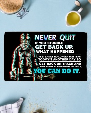 NEVER QUIT Hand Towel (horizontal) aos-towelhands-horizontal-front-lifestyle-2