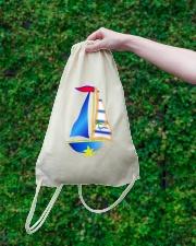 Sail inspired Drawstring Bag - Sailing clothes Drawstring Bag lifestyle-drawstringbag-front-3