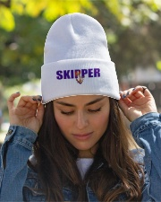 Embroidered Knitted Skipper Beanie Hat  Knit Beanie garment-embroidery-beanie-lifestyle-07