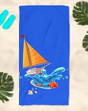 Shop Sailboat Beach Towel for seaside or Sailing Beach Towel aos-towelbeach-vertical-front-lifestyle-2