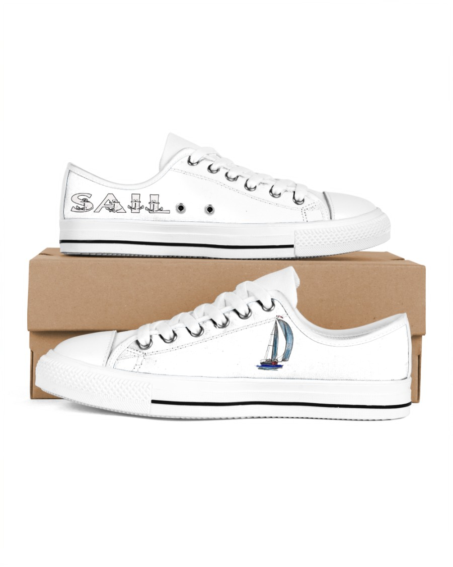 Men's Sailing Design Shoes  Men's Low Top White Shoes