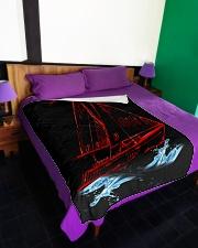 """Sailboat Fleece Blanket - Large  Large Fleece Blanket - 60"""" x 80"""" aos-coral-fleece-blanket-60x80-lifestyle-front-01"""