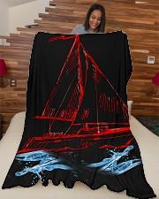 """Sailboat Fleece Blanket - Large  Large Fleece Blanket - 60"""" x 80"""" aos-coral-fleece-blanket-60x80-lifestyle-front-04"""