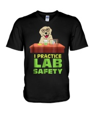 I Practice Lab Safety Funny Labrador Dog  V-Neck T-Shirt thumbnail