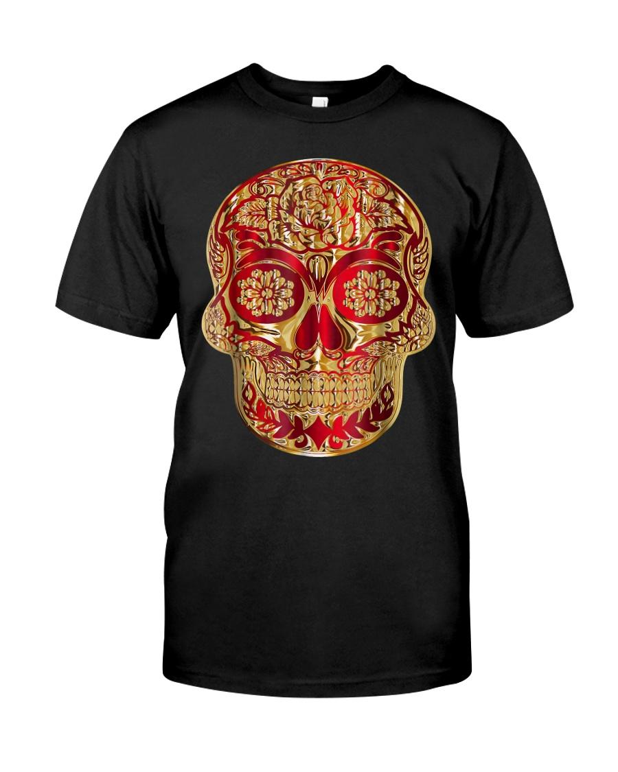Gold Red Sugar Skull T-Shirt Calavera D Classic T-Shirt