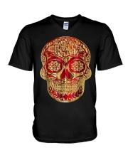 Gold Red Sugar Skull T-Shirt Calavera D V-Neck T-Shirt thumbnail