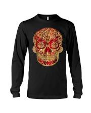 Gold Red Sugar Skull T-Shirt Calavera D Long Sleeve Tee thumbnail