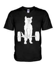 Cat Deadlift Powerlifting T-Shirt V-Neck T-Shirt thumbnail