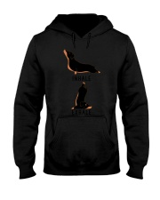 Womens Inhale Exhale Yoga Black and Tan Da Hooded Sweatshirt front