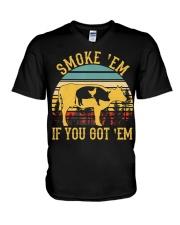 Vintage Smoke 'Em If You Got 'Em BBQ Grilling V-Neck T-Shirt thumbnail