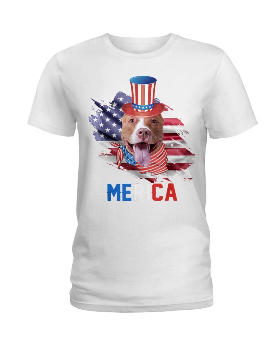 4th of July Patriotic Pitbull Merica  Ladies T-Shirt