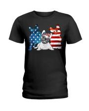 American French Bulldog Patriot Ladies T-Shirt thumbnail