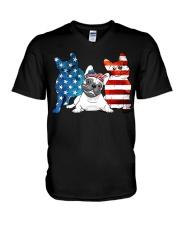 American French Bulldog Patriot V-Neck T-Shirt thumbnail