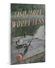 Fish more worry less 24x36 Gallery Wrapped Canvas Prints thumbnail