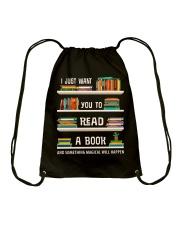 Read a Book Drawstring Bag thumbnail