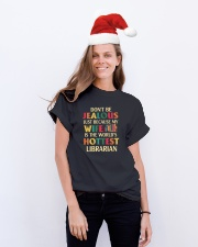librarian's husband Classic T-Shirt lifestyle-holiday-crewneck-front-1