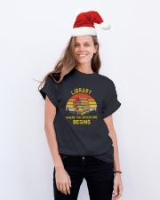 Library worker Classic T-Shirt lifestyle-holiday-crewneck-front-1