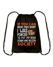 Great Shirt for book lovers Drawstring Bag thumbnail