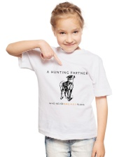 A HUNTING PARTNER WHO NEVER BREAKS PLANS Youth T-Shirt lifestyle-youth-tshirt-front-2