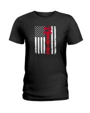 Usa sewing flag Ladies T-Shirt thumbnail