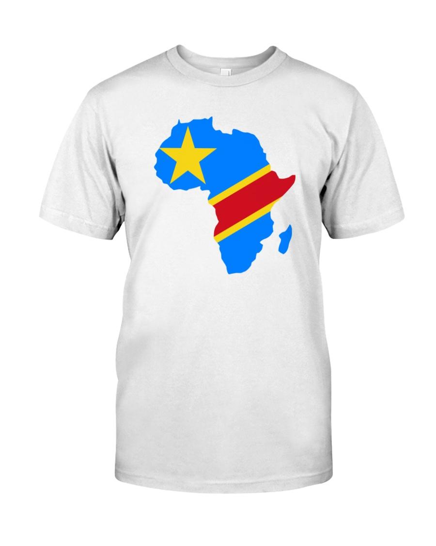 Democratic Republic of Congo flag in Africa map