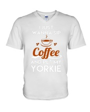 I just wanna sip coffee and pet my yorkie lovely T V-Neck T-Shirt thumbnail