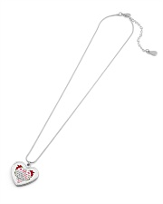 To My Wife Heart Pendant Necklace - From Husband Metallic Heart Necklace aos-necklace-heart-metallic-lifestyle-06