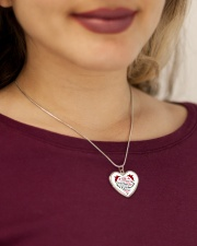 To My Wife Heart Pendant Necklace - From Husband Metallic Heart Necklace aos-necklace-heart-metallic-lifestyle-1