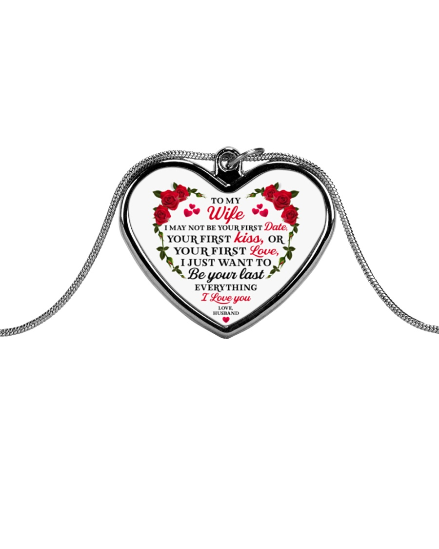 To My Wife Heart Pendant Necklace - From Husband Metallic Heart Necklace