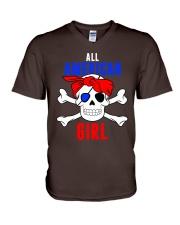 ALL AMERICAN GIRL V-Neck T-Shirt front