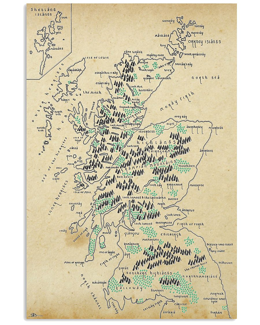 Scotland Whole Aged Map 11x17 Poster