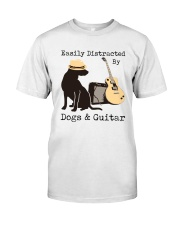 Easily Distracted By Dogs And Guitar Classic T-Shirt front