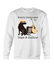 Easily Distracted By Dogs And Guitar Crewneck Sweatshirt thumbnail