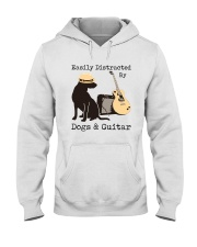 Easily Distracted By Dogs And Guitar Hooded Sweatshirt thumbnail