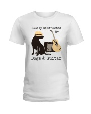 Easily Distracted By Dogs And Guitar Ladies T-Shirt thumbnail