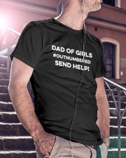 Dad Of Girls Outnumbered Send Help Classic T-Shirt lifestyle-mens-crewneck-front-5